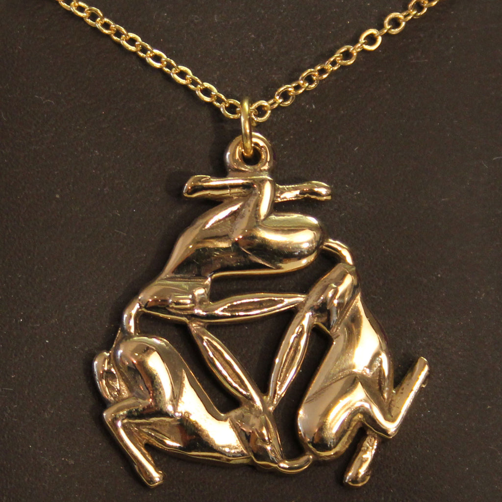 Bronze Triple Hare Necklace