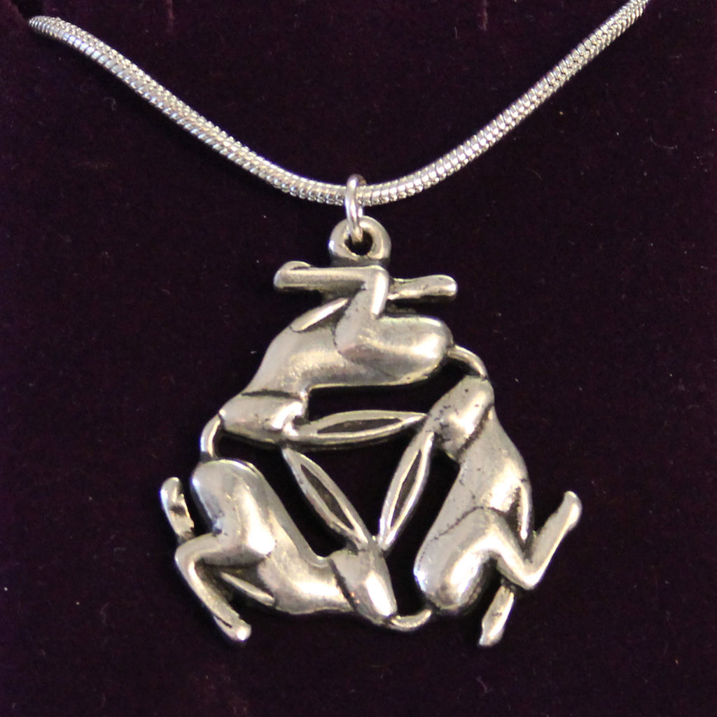 Pewter Triple Hare Necklace