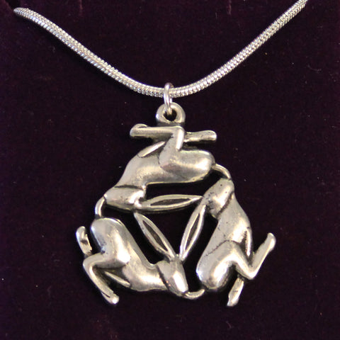 Pewter Triple Hare Necklace (PN650)
