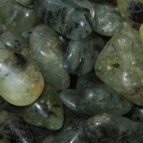 Tourmilated Prehnite tumble stone
