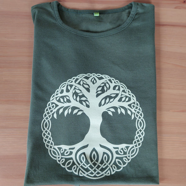 Ladies Fit Tree of Life T-Shirt (Khaki)