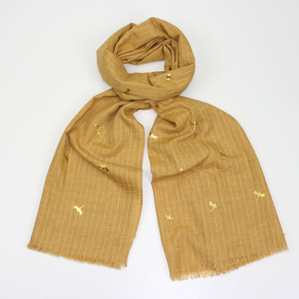 Foil Dragonfly Lake Gold Scarf