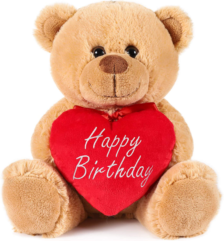 BRUBAKER Teddy Plush Bear with Red Heart - Happy Birthday - 9.5 Inches - Cuddly Toy - Light Brown