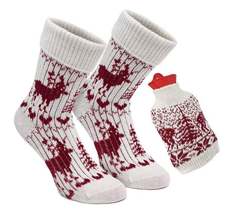 1 Pair of Norwegian Knit Socks with Hot Water Bottle - Red White - One Size