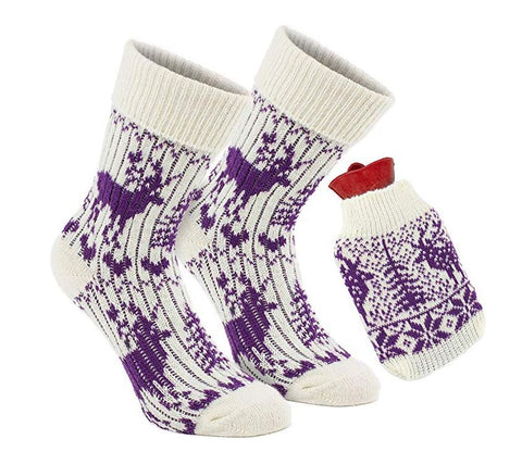 1 Pair of Norwegian Knit Socks with Hot Water Bottle - Purple White - One Size