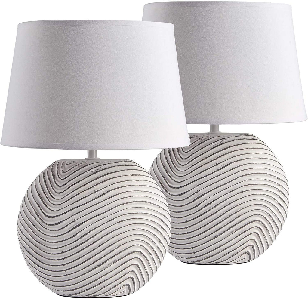 2-Pack BRUBAKER Table or Bedside Lamps - White - Ceramic Base in Two-Tone, Matte Finish - 15 Inches