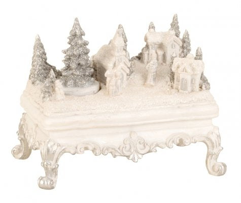 BRUBAKER Snowy Village with LED Lights and Animated Figures - 6.8 Inches Wide - Christmas Decoration - Winter Scene