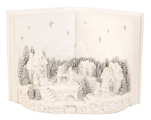 BRUBAKER Snowy Village with LED Lights and Animated Figures - 11.5 Inches Wide - Christmas Decoration - Winter Scene