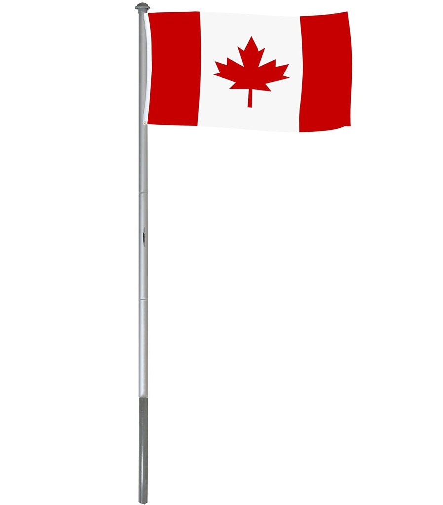 BRUBAKER 20 Feet Aluminum In-Ground Flagpole with 5 Feet by 3 Feet Canadian Flag