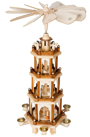 "BRUBAKER Christmas Pyramid 24"" Wood Nativity Play, 4 Tier Carousel"