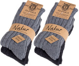 BRUBAKER Alpaca Wool Socks - Pack of 4 Pairs - Perfect Winter Socks for Men & Women