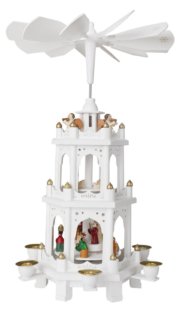"BRUBAKER Christmas Pyramid 18"" - White Wood Nativity Play - 3 Tier Carousel"