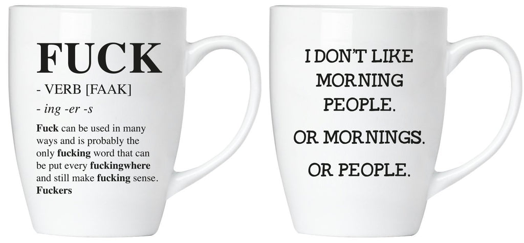 "BRUBAKER Set of 2 Ceramic Mugs - ""FUCK"" & ""I don't like Mornings"" - Greeting Card included"