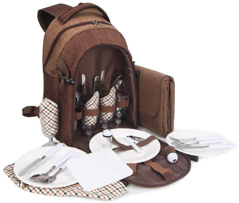BRUBAKER Picnic Backpack for 4 Persons - Brown - 11×8×17 - with Cooler Compartment & Blanket