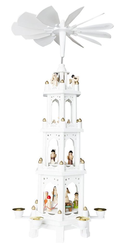 "BRUBAKER White Christmas Pyramid 24"" Nativity Play, 4 Tier Carousel"