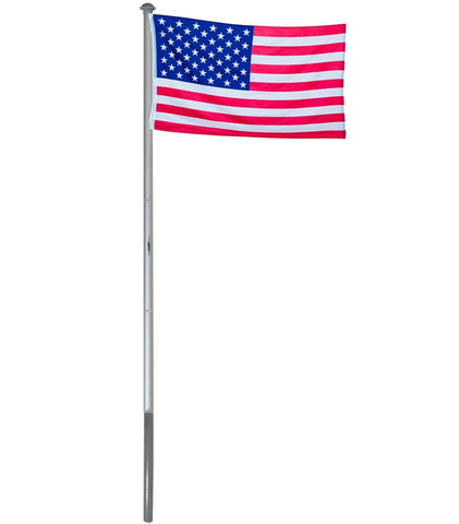 BRUBAKER 20 Feet Aluminum In-Ground Flag Pole with 3x5 Feet USA Flag