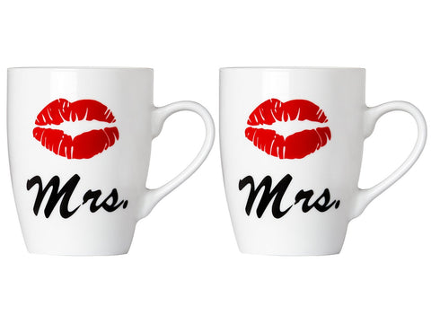 Set of Mrs. and Mrs. Coffee or Tea Mugs Gift Box Marriage Wedding Love Couple