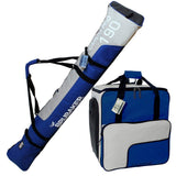 BRUBAKER Ski Bag Combo for Skis, Poles, Boots and Helmet 66 7/8 or 74 3/4 - Blue Silver