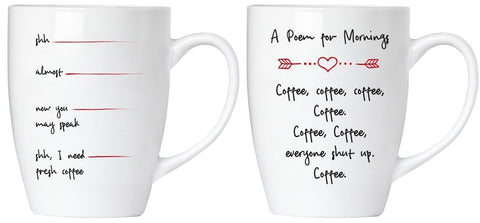 "BRUBAKER Set of 2 Ceramic Mugs - ""Morning Poem - Shut Up!"" - Greeting Card included"