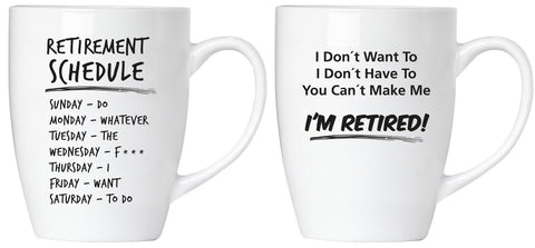 "BRUBAKER Set of 2 Ceramic Mugs - ""Retirement"" - Greeting Card included"