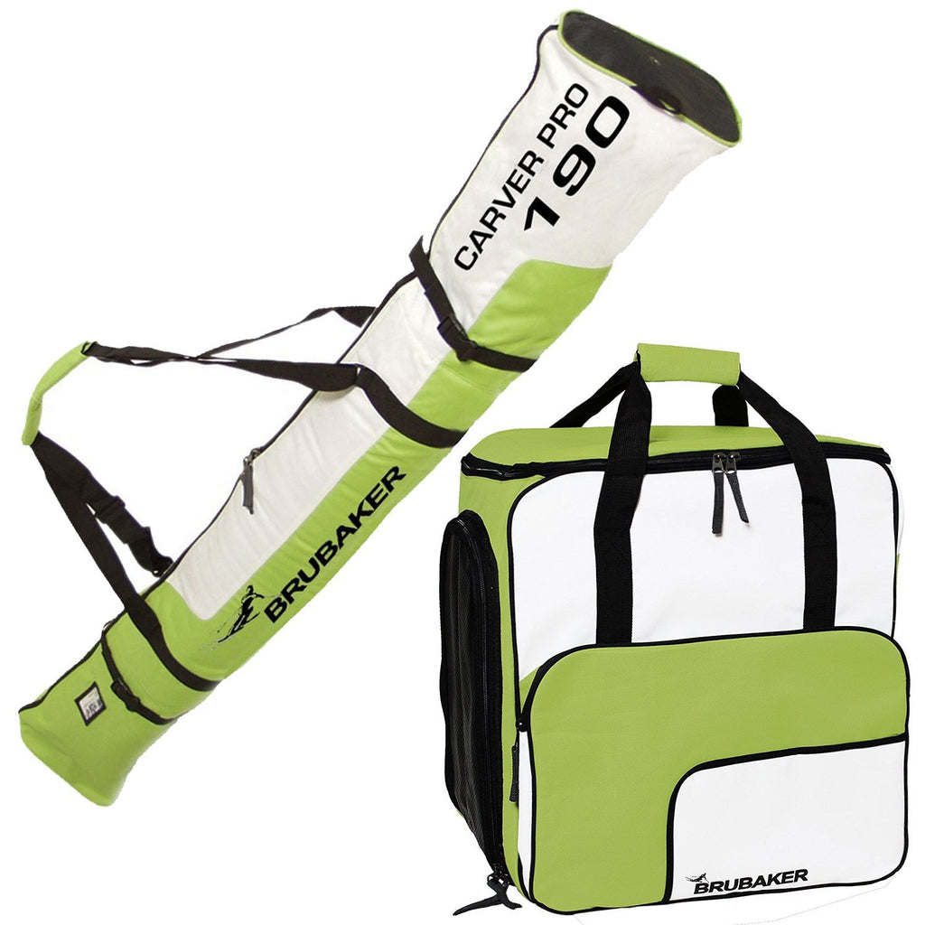 BRUBAKER Ski Bag Combo of Ski Boot Bag and Ski Bag for 1 Pair of Ski, Poles, Boots, Helmet, Gear - Green/White - 170/190 cm