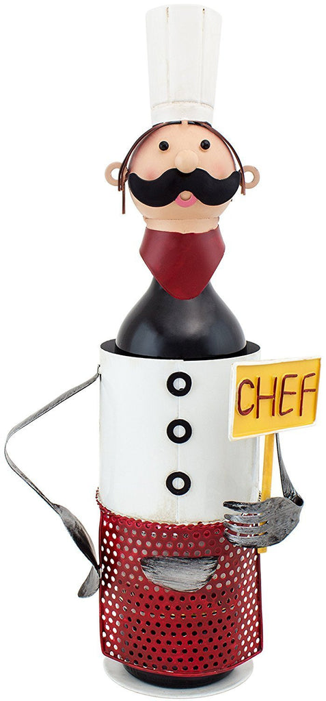 "BRUBAKER Wine Bottle Holder ""Chef de Cuisine"" in Vintage Look - Hand-Painted Sculptures and Figurines Decor Wine Racks and Stands Gifts Decoration"