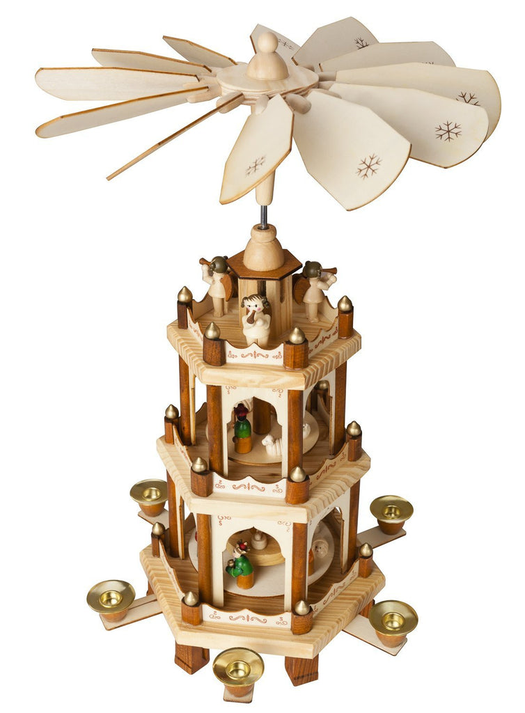 BRUBAKER Wooden Christmas Pyramid - 18 Inches - 3 Tier Carousel - Nativity Play