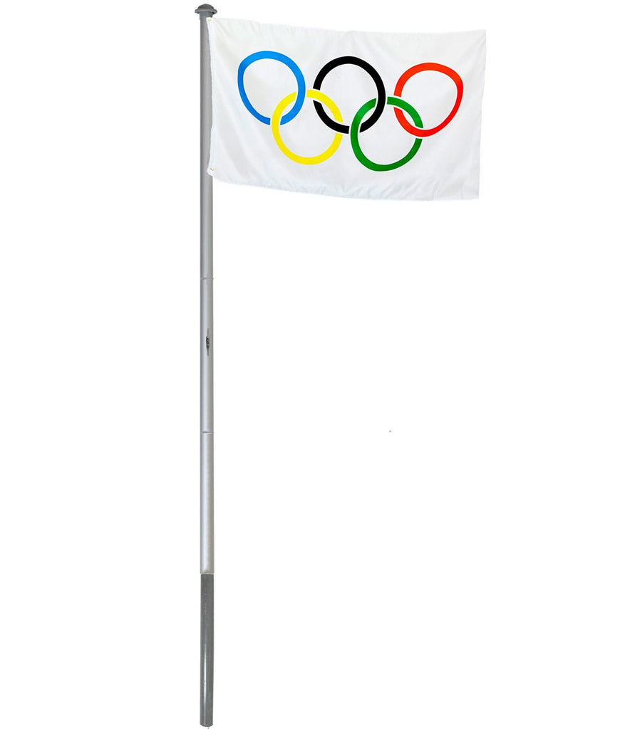 BRUBAKER 20 Ft Aluminum In-Ground Flag Pole and 3 Ft by 5 Ft Olympics Flag