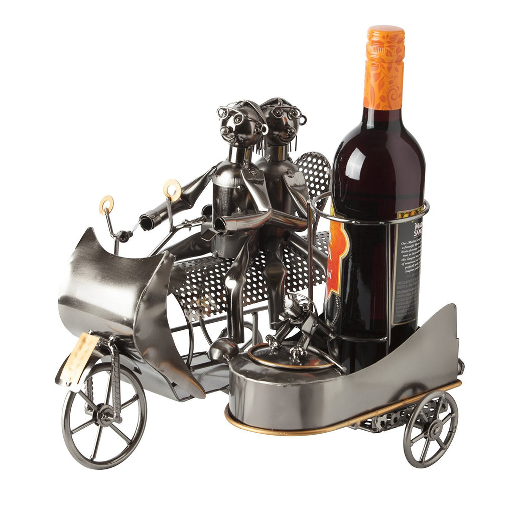 "BRUBAKER Wine Bottle Holder ""Couple on Motorbike with Dog in Sidecar"" 8083"
