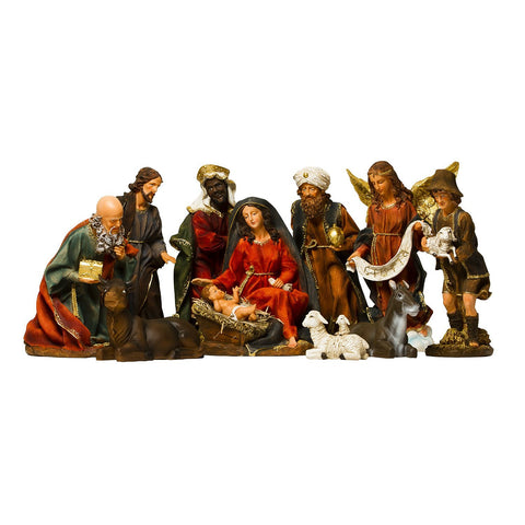 "BRUBAKER Christmas Nativity Scene - 14"" Real Life Nativity Set - 11 Figurines"