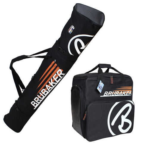 "BRUBAKER ""Champion"" - Ski Boot Bag and Ski Bag for 1 Pair of Ski, Poles, Boots and Helmet - Black Orange"