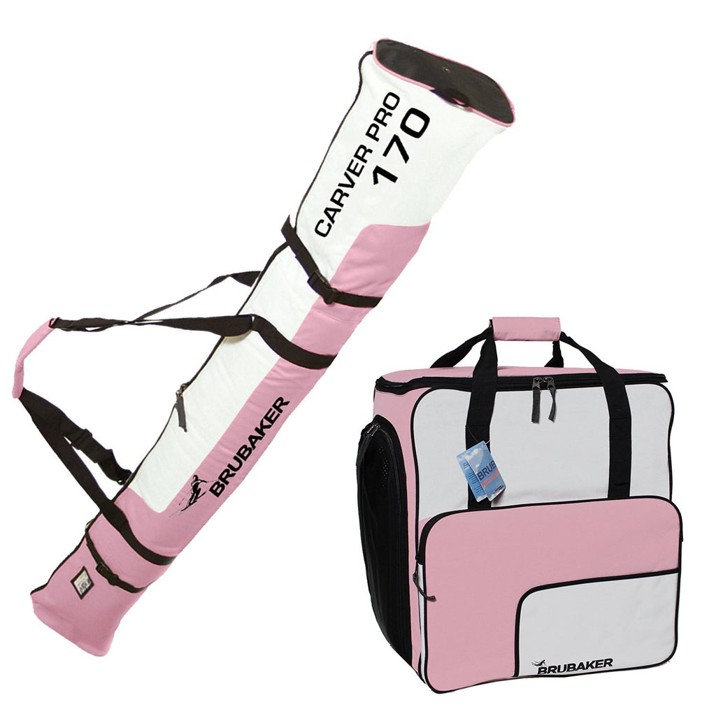 "BRUBAKER Ski Bag Combo for Ski, Poles, Boots and Helmet - 66 7/8"" - Light Pink / White"
