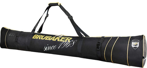 "BRUBAKER Ski Bag for 1 Pair of Skis and Poles - Available in 66 7/8"" (170 cm) or 74 3/4"" (190 cm) - Black/Golden"