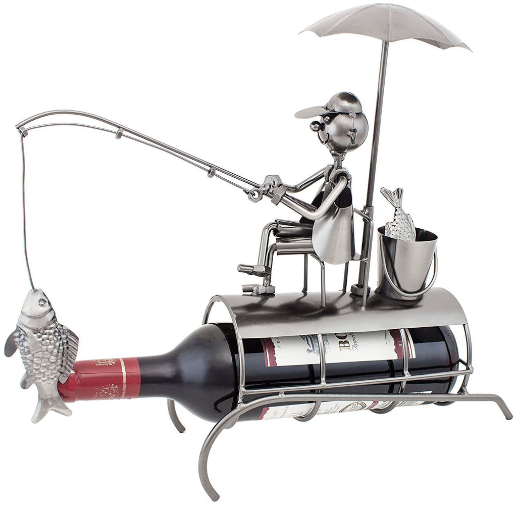 "BRUBAKER Wine Bottle Holder ""Angler with Sunshade"" Metal Sculptures and Figurines Decor Wine Racks and Stands Gifts Decoration"