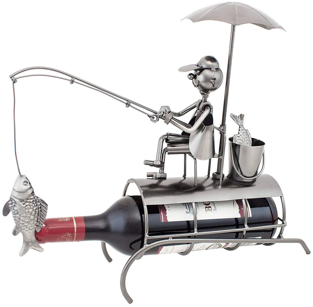 "BRUBAKER Metal Wine Bottle Holder ""Angler with Sunshade"""