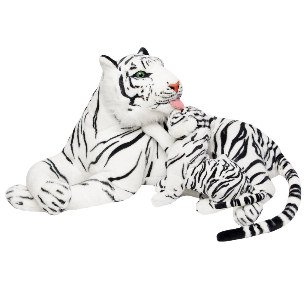 BRUBAKER White Plush Tiger with Baby - 40 Inches - Soft Toy - Stuffed Animal