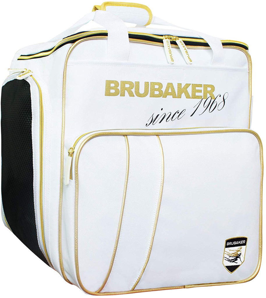 BRUBAKER Ski Boot Bag for Boots, Helmet, Gear and Apparel - White/Golden
