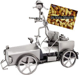 BRUBAKER Wine Bottle Holder - Firefighter on Fire Engine - Table Top Metal Sculpture - with Greeting Card