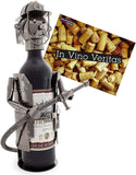 BRUBAKER Wine Bottle Holder 'Firefighter' - Table Top Metal Sculpture - with Greeting Card