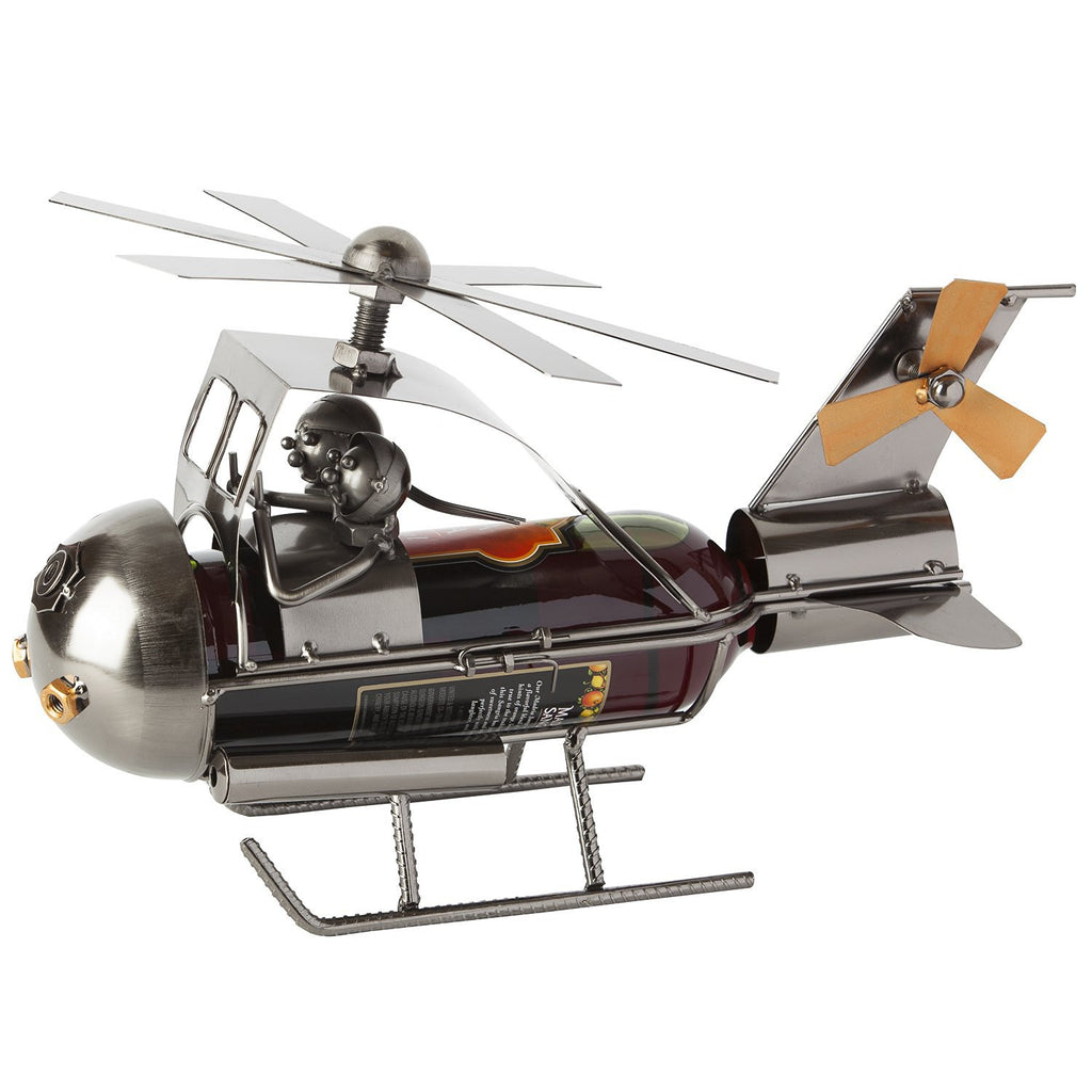 "BRUBAKER Wine Bottle Holder ""Couple in Helicopter"", Metal Sculpture 8079"