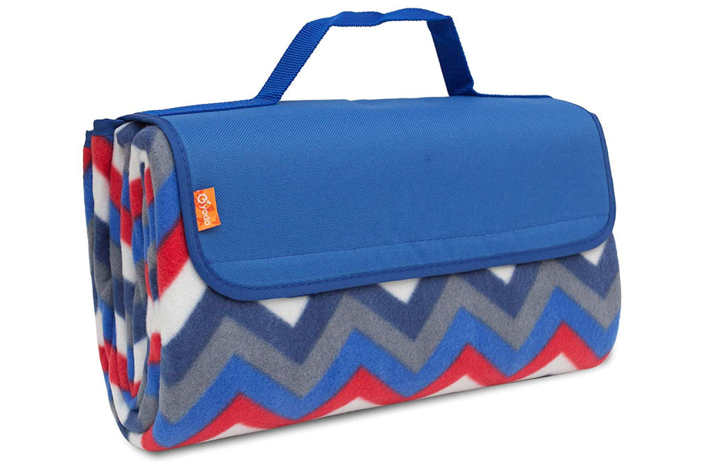 BRUBAKER Fleece Picnic Blanket with Waterproof Backing Blue Multicolor 60 x 53 Inches