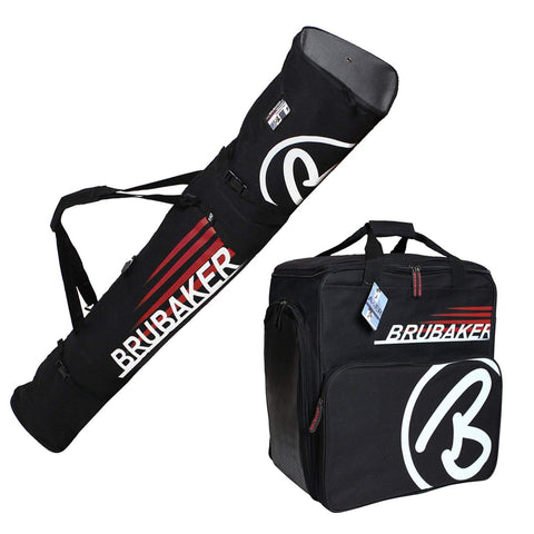 BRUBAKER Ski Bag Combo CHAMPION for Skis, Poles, Boots + Helmet, Black/Red