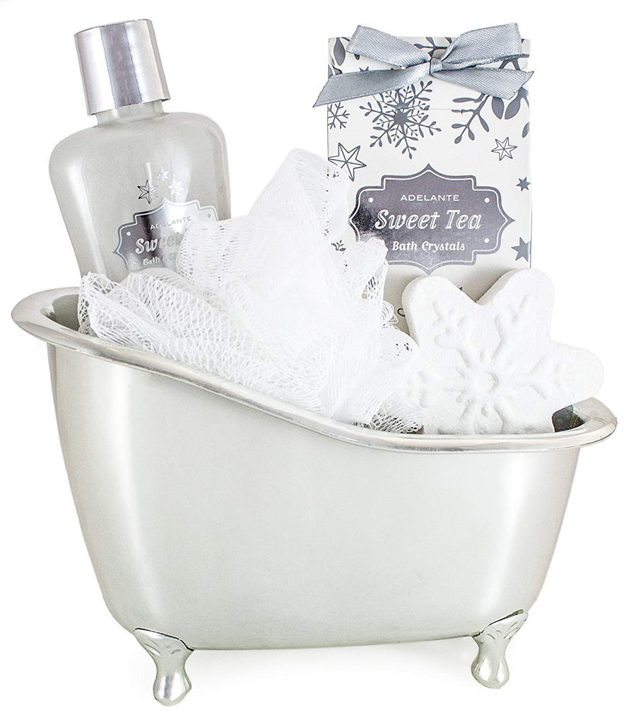 BRUBAKER 5 Pcs Beauty Gift Set 'Sweet Tea' - With Silver Bathtub, Bath Fizzer, Shower Gel, Bath Crystals & Sponge - Beauty Spa Set