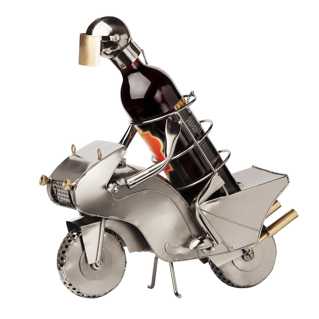 "BRUBAKER Wine Bottle Holder ""Motorcycle Racer"" - Rotatable Wheels - 8080"