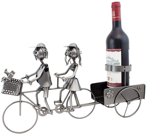 "BRUBAKER Wine Bottle Holder ""Couple on Tandem Bicycle"" Metal Sculptures and Figurines Decor Wine Racks and Stands Gifts Decoration"
