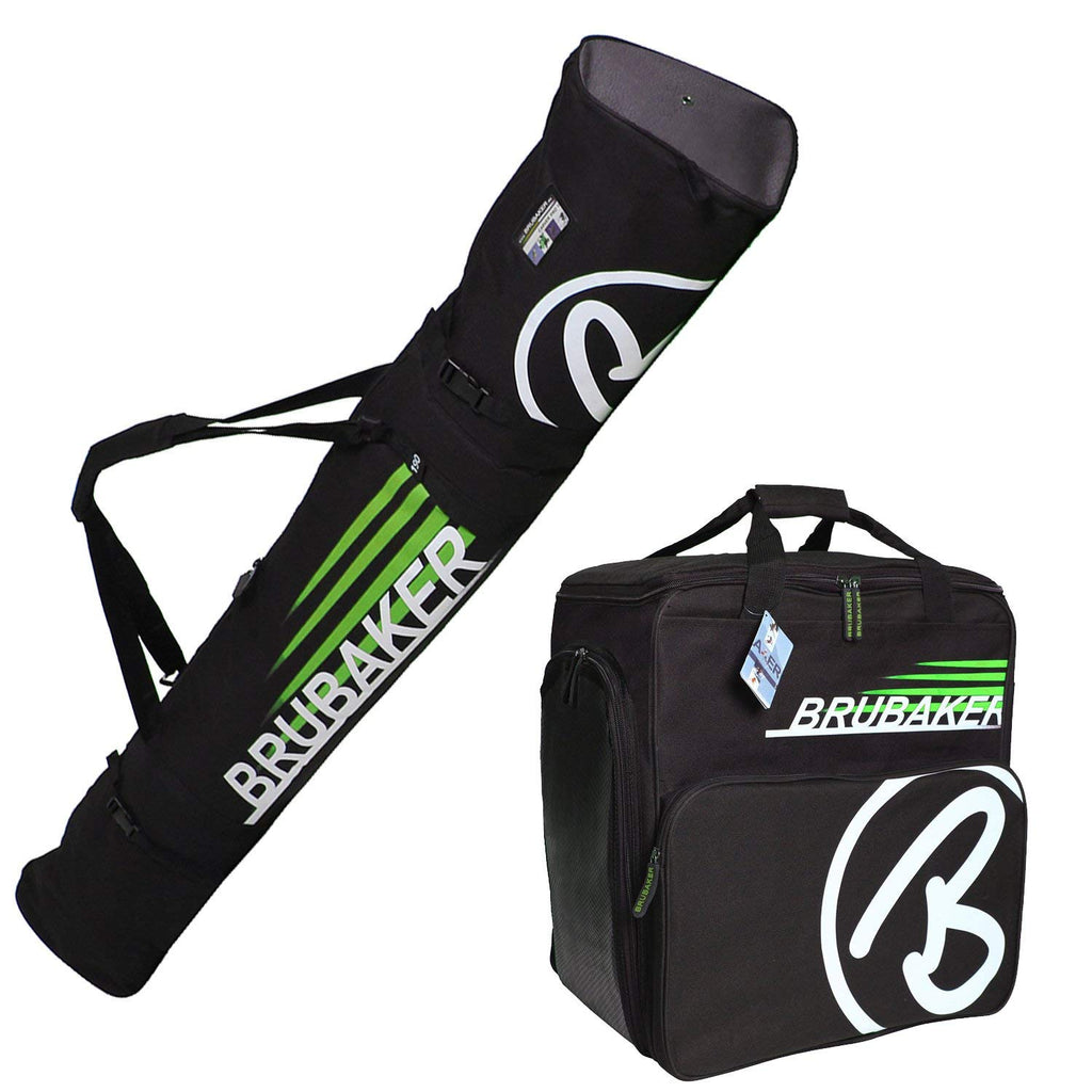"BRUBAKER ""Champion"" - Ski Boot Bag and Ski Bag for 1 Pair of Ski, Poles, Boots and Helmet - Black Green"