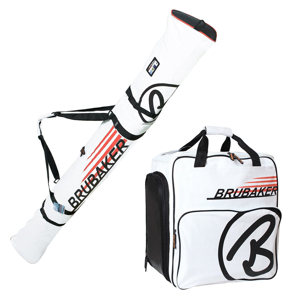 BRUBAKER Ski Bag Combo CHAMPION for Ski, Poles, Boots and Helmet - White / Orange