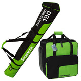 BRUBAKER Combo Ski Boot Bag and Ski Bag for 1 Pair of Ski, Poles, Boots, Helmet, Gear and Apparel - 170/190 cm - Green/Black