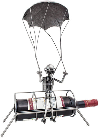 "BRUBAKER Wine Bottle Holder ""Skydiver"" - ""Parachutist"" - Metal Sculpture 99100"