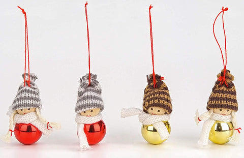 BRUBAKER 4-Piece Set Knitted Christmas Tree Hanging Dolls - Wood & Knit - Decoration - Ornaments